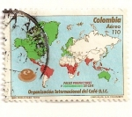 Stamps America - Colombia -  Paises consumidores y paises productores de cafe.