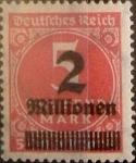 Sellos de Europa - Alemania -  Intercambio 0,20 usd 2000000 sobre 5000 marcos 1923