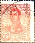 Sellos de America - Argentina -  Intercambio 0,30 usd 5 cents. 1908