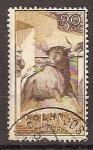 Stamps Spain -  ESPAÑA SEGUNDO CENTENARIO  USD Nº 1257 (0) 30C SEPIA CASTAÑO TOROS
