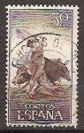 Sellos de Europa - España -  ESPAÑA SEGUNDO CENTENARIO USD Nº 1258 (0) 50C CASTAÑO Y VIOLETA TOROS