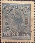 Stamps : America : Brazil :  Intercambio 0,50 usd  200 r. 1918