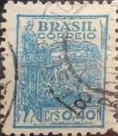 Stamps : America : Brazil :  Intercambio 0,20 usd  40 cents. 1947