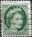 Stamps : America : Canada :  Intercambio 0,20 usd 2 cents. 1954