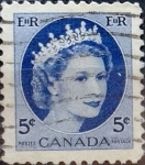 Stamps : America : Canada :  Intercambio 0,20 usd 5 cents. 1954