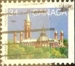 Stamps : America : Canada :  Intercambio 0,20 usd 34 cents. 1985