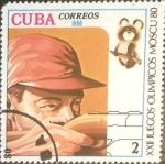 Stamps : America : Cuba :  Intercambio 0,20 usd 2 cents. 1980