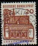 Sellos del Mundo : Europa : Alemania : ALEMANIA 1964 Scott 905 Sello Arquitectura Portico Lorshc Hessen 20 Usado Michel 456 Allemagne Duits