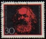 Sellos del Mundo : Europa : Alemania : ALEMANIA 1968 Scott 985 Sello º Personajes Karl Marx (1818-83) 30 Michel 554 Yvert425 Allemagne