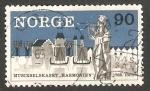 Sellos de Europa - Noruega -  489 - II Centº de la sociedad musical Harmonien, Santa Sunniva, patrona de Bergen