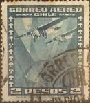 Stamps : America : Chile :  Intercambio 0,20  usd  2 pesos 1934