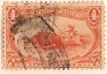 Stamps : America : United_States :  postage four cents / indian hunting bufalo / U.SA. (1898)