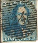 Sellos del Mundo : Europa : Bélgica : vingt cents / Rey Leopoldo I