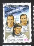 Stamps Russia -  Vuelos Espaciales Soyuz T-7 - Soyuz T-5 - Salyut-7