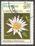 Sellos de America - Nicaragua -  1156 - Flor acuática, nymphaea daubenyana