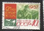 Stamps Russia -  40 Aniversario de la Gran Revolución Socialista de Octubre, 1957 37x26