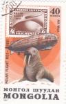 Stamps Mongolia -  aniversario-vuelo sobre el polo en zeppelin