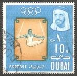 Stamps : Asia : United_Arab_Emirates :  Dubai - 48 - Olimpiadas de Tokyo, Gimnasia