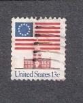 Sellos de America - Estados Unidos -  Casa de la Independencia y Bandera de la Unión
