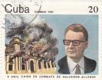 Sellos de America - Cuba -  caída en combate de Salvador Allende
