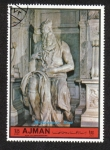 Stamps United Arab Emirates -  Ajman, Moses; by Michelangelo Bounaroti