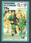 Sellos de America - San Vicente y las Granadinas -  Mundial de fútbol México 86, jugador irakí
