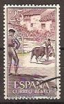 Sellos de Europa - España -  ESPAÑA SEGUNDO CENTENARIO USD Nº 1266 (0) 25C CASTAÑO BURDEOS TOROS
