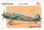 Sellos de Asia - Vietnam -  YAK-11-avión de combate