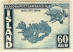 Stamps Europe - Iceland -  Mapa en relieve