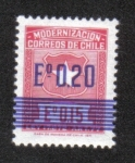 Stamps Chile -  Postal overprint 20c on 15c red
