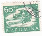 Sellos de Europa - Rumania -  cosechadora