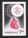 Stamps Chile -  Human Heart + Globe