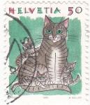 Sellos de Europa - Suiza -  dibujo de un gato