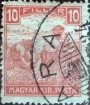Sellos de Europa - Hungría -  Intercambio 0,20 usd 10 filler  1916