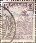 Sellos de Europa - Hungría -  Intercambio 0,20 usd 15 filler  1916