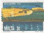 Sellos de Europa - Malta -  castillo Sur ta San Mikiel- Valletta