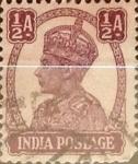 Sellos de Asia - India -  Intercambio 0,20 usd 1/2 anna 1942