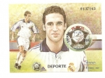 Stamps Europe - Spain -  Exp. Mundial de Filatelia - Deportes - Fútbol - Raúl - Real Madrid  HB