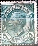 Stamps Italy -  Intercambio 0,30 usd 5 cents. 1906
