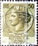 Stamps Italy -  Intercambio 0,20 usd 50 liras 1958