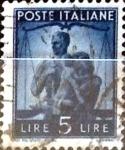 Stamps Italy -  Intercambio 0,20 usd 5 liras 1945