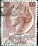 Stamps : Europe : Italy :  Intercambio 0,20 usd 100 liras 1956