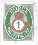 Stamps : Europe : Norway :  corneta y emblema