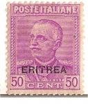 Stamps of the world : Eritrea :  Poste Italiane / Eritrea / 50 cent / colonia italiana