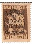 Stamps Italy -  Regno di Italia / Poste Di Fiume / 15 centesimos