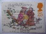 Stamps United Kingdom -  150Ht Anniversary of Publication of A. Cristmas Carol by Charles Dickens Isue. 1843-1993.