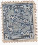Sellos de America - Cuba -  mapa isla de Cuba
