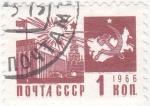 Stamps Russia -  edificio y mapa