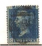 Stamps United Kingdom -  Two pence blue / Queen Victoria