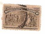 Stamps America - United States -  United states of america / Columbus presenting natives